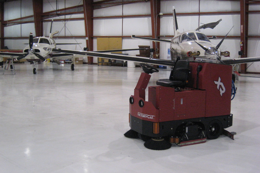 The XR floor scrubber is perfect for cleaning the large area's needed when working with precision airplane engines.